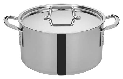 winco tgsp  tri ply stainless steel  qt stock pot  cover lionsdeal