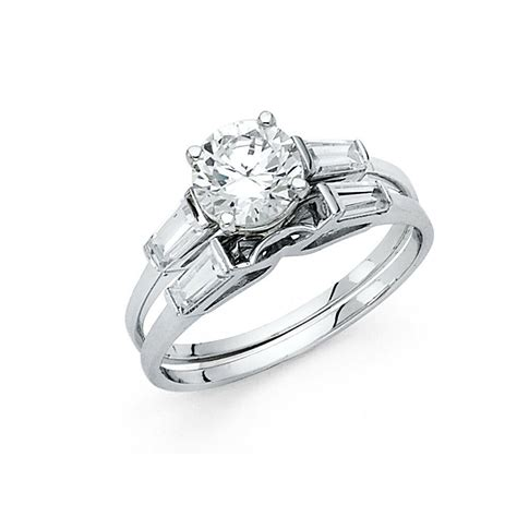 wedding ring sets with baguettes 14k white gold solitaire engagement ring baguette wedding band ebay