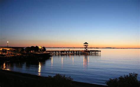 Pier, Houses, Sea, Coast, Dusk, Sunset Wallpaper