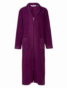 slenderella ladies anti pill zip up dressing gown soft With robe de chambre avec fermeture eclair