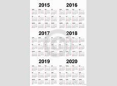Calender 2015 2016 2017 2018 2019 2020 Stock Vector