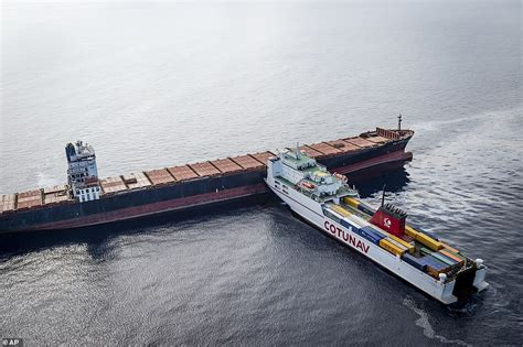 Boat Crash Corsica by Fuel Spill In Mediterranean After Ships Collide