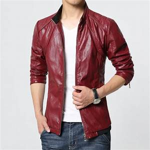 Men leather jackets and coats red black blazer top man ...