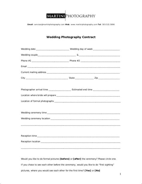 wedding contract samples  ms word