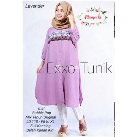 baju exxo tunik bahan pop kombinasi tenun original