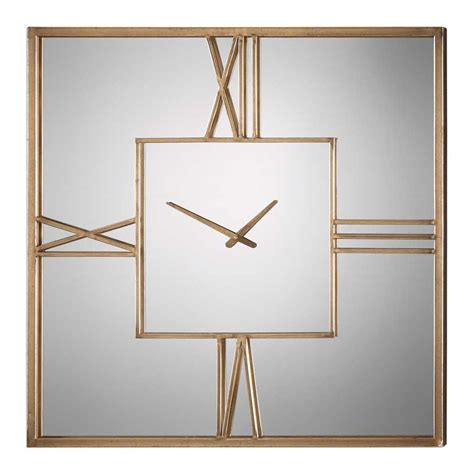 modern gold square mirror frame oversized wall clock uttermost 06442