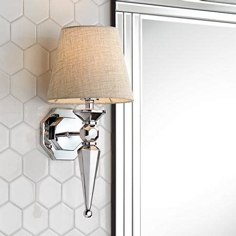 textured fabric shade 1 4 quot high chrome wall sconce v3573 lsplus