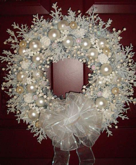 shabby chic wreaths snow white shabby cottage chic handmade christmas wreath