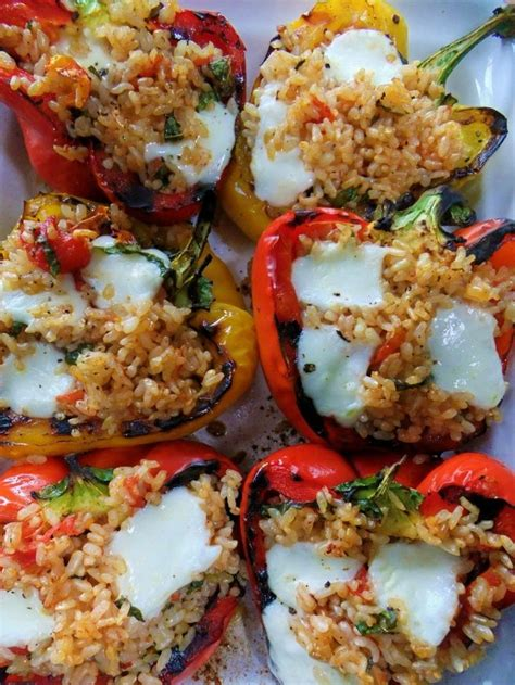 stuffed peppers with rice steak brown rice veggie stuffed peppers recipe dishmaps