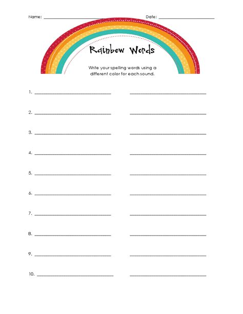 rainbow spelling worksheet buggy for second grade rainbow spelling