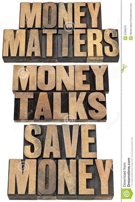 money matters  wood type stock photo image