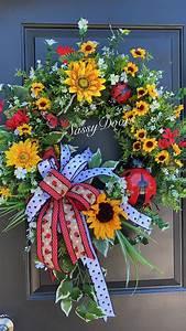 Sunflower, Summer, Wreath, Sunflower, Wreath, Ladybug, Wreath, Front, Door, Wreath, Sassydoors, Wreath