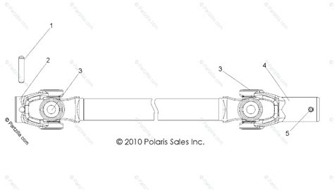 polaris side by side 2011 oem parts diagram for drive front prop shaft all options