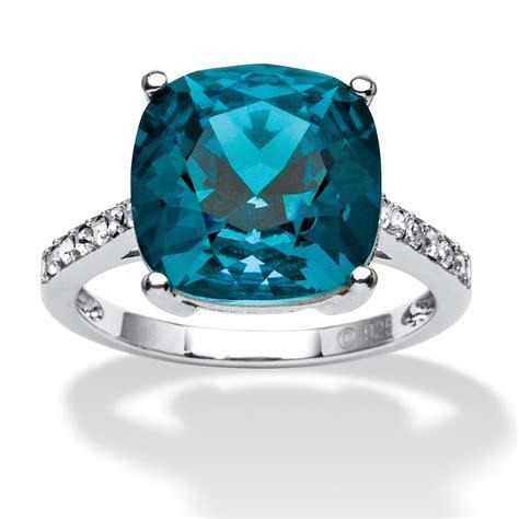 Cushion-Cut Denim Blue Crystal Ring Made with SWAROVSKI