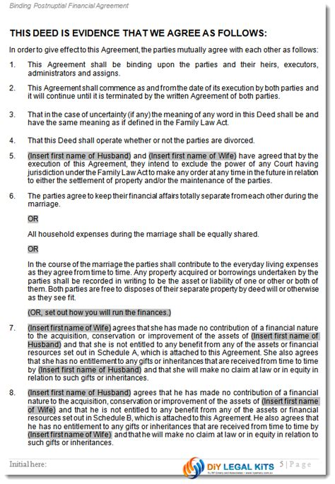post nuptial agreement template postnuptial financial agreement during marriage peaceful path to settlement