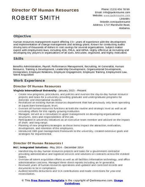 director  human resources resume samples qwikresume