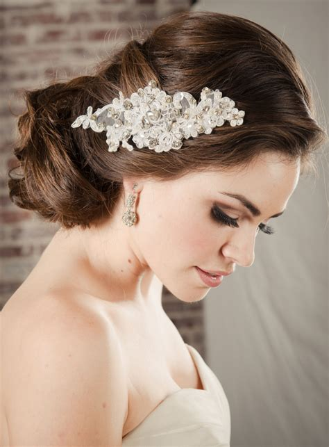 Hair Accessories Bridal Lace Comb Pearl And Rhinestone