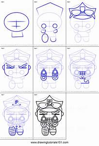 How To Draw Policeman Bruce From Pucca Printable Step By