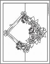 Coloring Pages Flower Bouquet Rustic Flowers Roses Wreath Pdf Garland Colorwithfuzzy sketch template