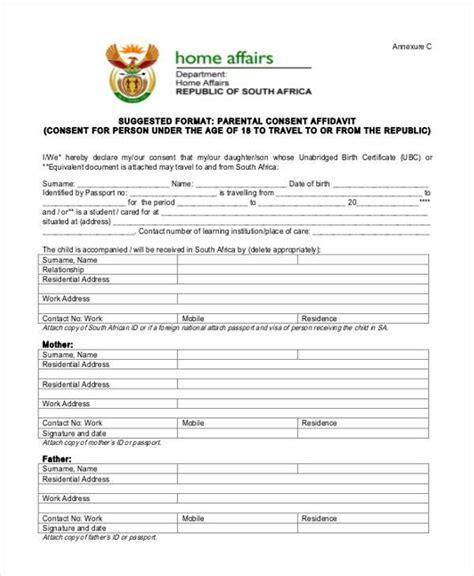 affidavit of consent form affidavit form template