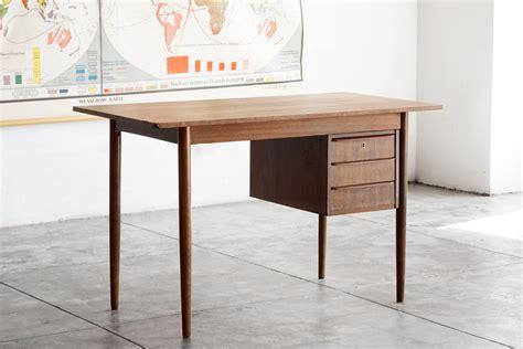 bureau style vintage modern wood desk with floating drawers rehab