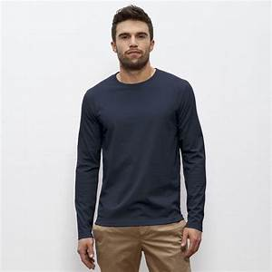 Mens Organic Cotton Round Neck Long Sleeve T-Shirt - Natural Collection Select