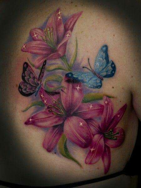 tatoeage bloem bloemen en vlinder tattoo tatoeages tattoos pinterest