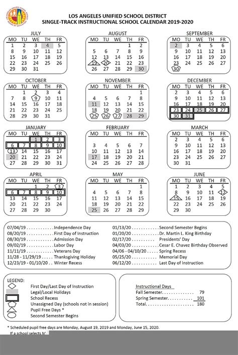 lausd calendar    printable calendar