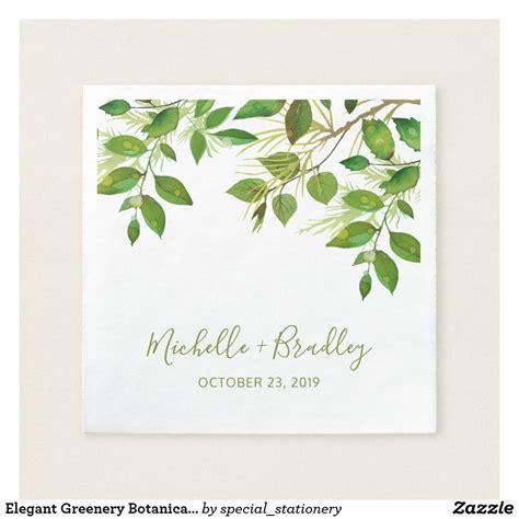 Elegant Greenery Botanical Foliage Wedding Paper Napkins
