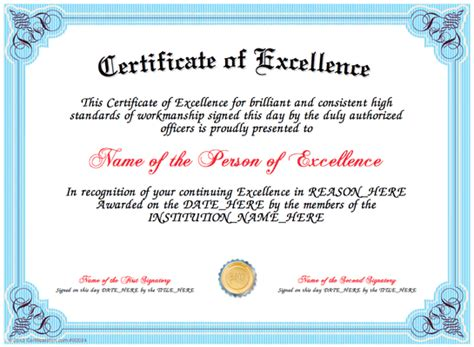 Certificate Of Excellence Template Editable by Certificate Of Excellence