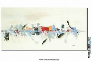 Tableau Peinture Sur Toile : tableau beige blanc cr me art d co grand format cr ation in dite reflets sur l 39 eau ~ Teatrodelosmanantiales.com Idées de Décoration