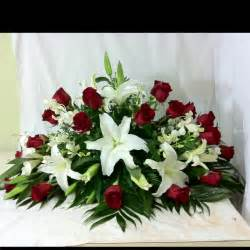 White Lilies and Red Roses Casket Spray