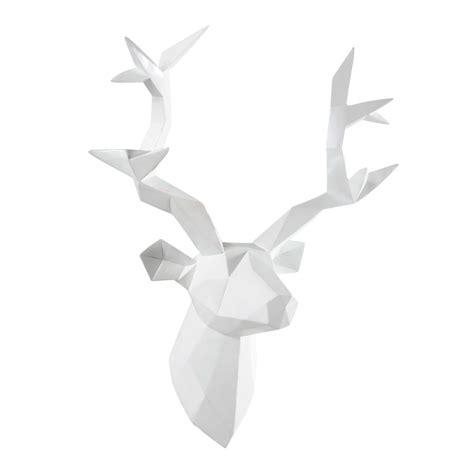 chambre lit blanc déco murale tête de cerf blanche 45 x 47 cm origami
