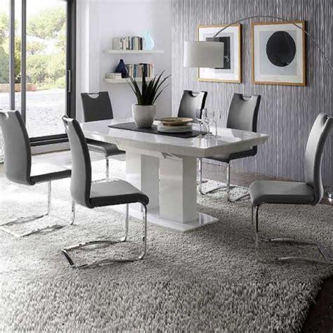 genisimo high gloss dining table with 6 grey koln chairs