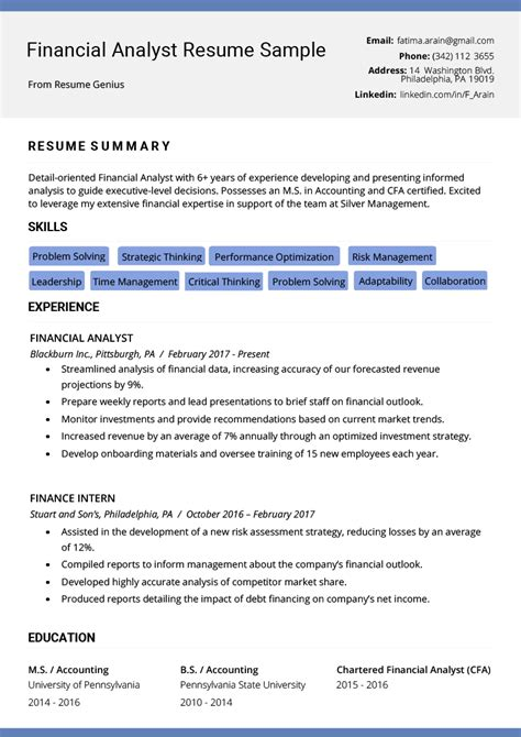 financial analyst resume sample template ms word tips