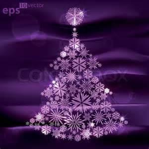 Christmas tree made of snowflakes over dark violet silk