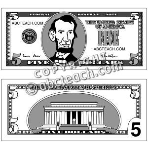 five dollar bill clipart black and white 5 dollar clipart 40