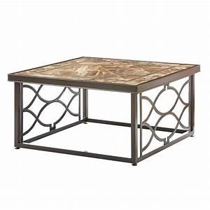 walker edison furniture company boardwalk dark brown With square slate coffee table