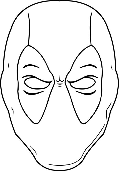 awesome Black White Outline Deadpool Coloring Page