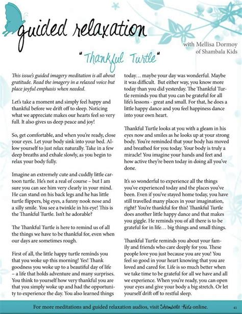 Guided Relaxation Script The Thankful Turtle Guided