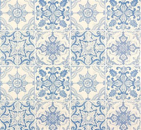 Tapete Fliesen Ornament Blau Faro As Creation 300422