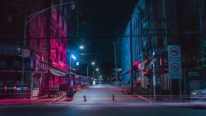 Night Street Buildings Neon 4k Background Uhd