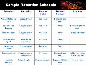 records retention scheduling With retention schedule template