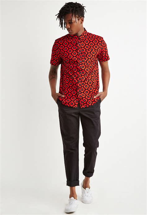 Lyst - Forever 21 Poppy Print Shirt in Black for Men