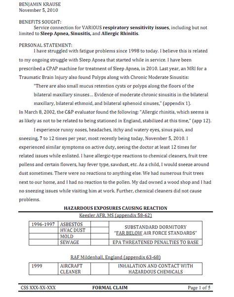 sample letter  va  disability rating sinusitis