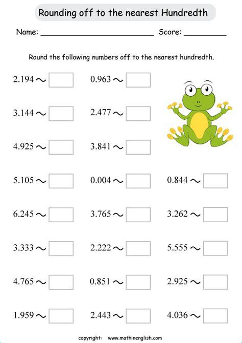 round decimals off to the nearest hundredth math worksheet