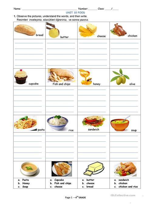food  drinks worksheet  esl printable worksheets