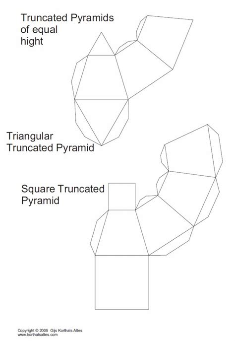 truncated cuboctahedron template net truncated triangular pyramid templates paper