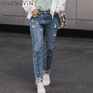 Jeans Mit Strass Und Perlen : changyin frauen jeans perlen casual fashion solid farbe boyfriend jeans nagel perlen decorat ~ Frokenaadalensverden.com Haus und Dekorationen