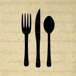 Printable Image Fork Knife and Spoon Silverware Graphic ...